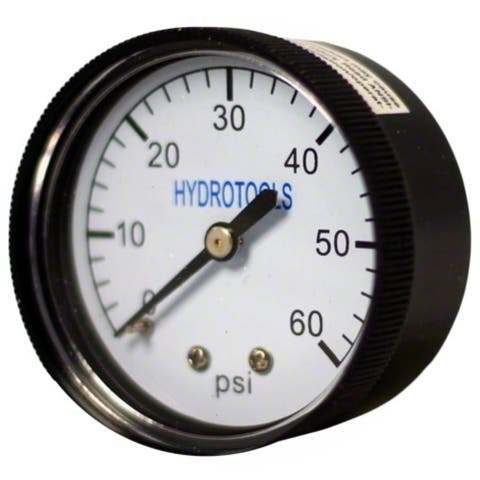 """2.25"""" Black and White 60PSI Rear Mount Pressure Gauge Swimming Pool Pump Accessory"""