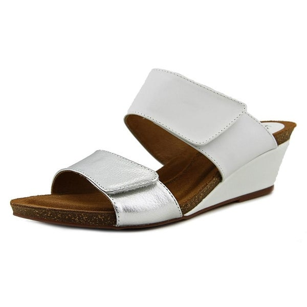 Sofft Vangie Women Open Toe Leather White Wedge Sandal