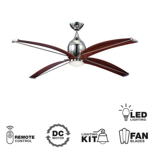 "Ellington Fans TRD604 Tyrod 60"" 4 Blade Indoor DC LED Ceiling Fan - Blades, Light Kit and Remote Control Included"