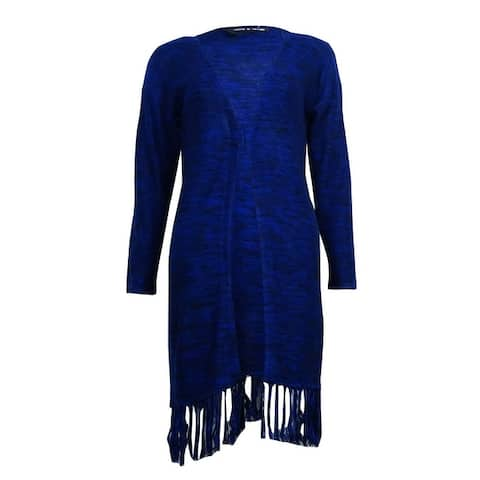Cable & Gauge Women's Fringed 3/4 Sleeves Marled Cardigan