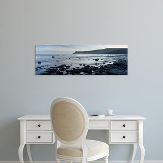Easy Art Prints Panoramic Image 'Beach, Robin Hood's Bay, North Yorkshire, England, United Kingdom' Canvas Art