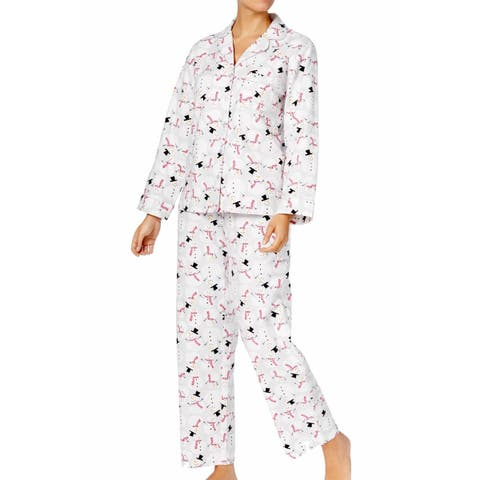 d804b45b40d Charter Club Women s Printed Cotton Flannel Pajama Happy Snowman Size  2-Extra Large - Grey