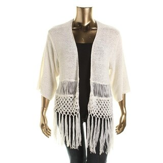 NY Collection Womens Fringed Open Front Cardigan Sweater - M
