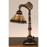 Meyda Tiffany 32738 Stained Glass / Tiffany Desk Lamp from the Jeweled Peacock Collection - Mahogany Bronze