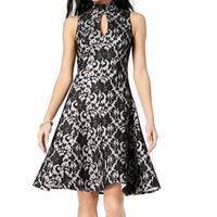 Jax Black Women Size 2 Mock-Neck Keyhole Fit & Flare A-Line Dress
