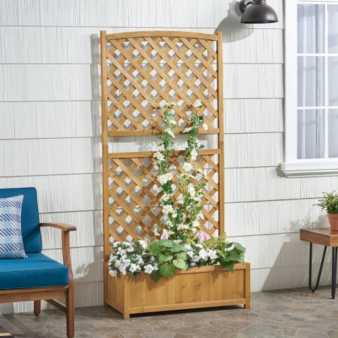 Bostick Traditional Rectangular Firwood Planter Box with Trellis by Christopher Knight Home