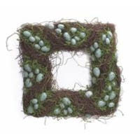 "Pack of 2 Square Easter and Springtime Speckled Teal Eggs with Moss Wreaths 15"" - BLue"
