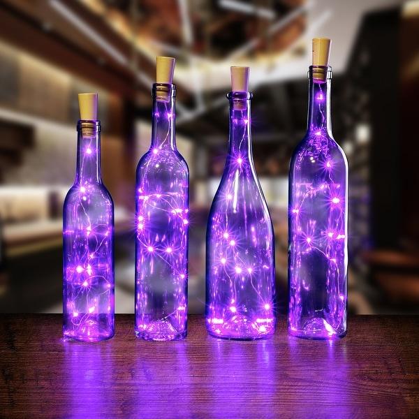 AGPtek 4PCS Cork shape lights Bottle Mini String Light 30inch for Decoration - Purple