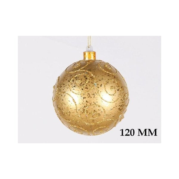 Christmas at Winterland WL-BALL-120-GO 4.7 Inch Ball Ornament Gold with Gold Glitter