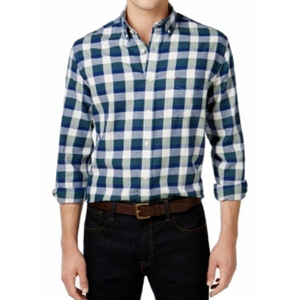 a55ab99c Shop Tommy Hilfiger NEW Green Blue Mens Size XL Check Button Down Shirt -  Free Shipping On Orders Over $45 - Overstock - 19422688