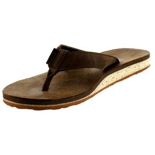 Teva Mens Leather Slide Flip-Flops