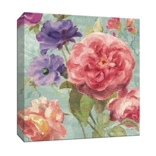 """PTM Images 9-152452  PTM Canvas Collection 12"""" x 12"""" - """"Watercolor Floral II on Grey"""" Giclee Flowers Art Print on Canvas"""
