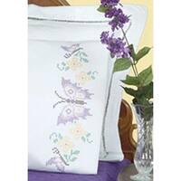 Xx Butterflies - Stamped Pillowcases W/White Perle Edge 2/Pkg