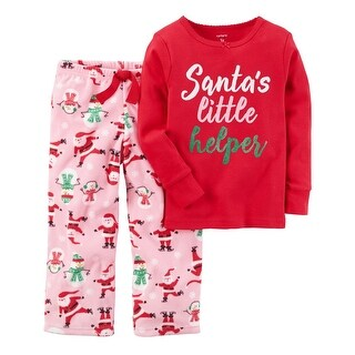 Carter's Baby Girls' 2-Piece Holiday Cotton & Fleece PJs, 18 Months - Red