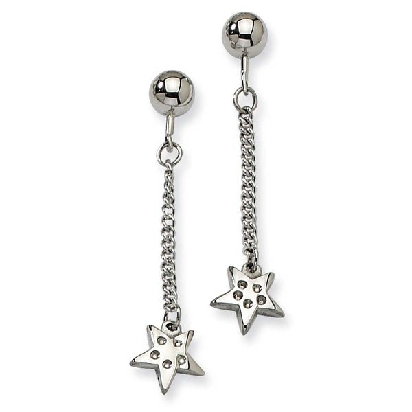 Chisel Stainless Steel Polished Star with CZs Post Dangle Earrings