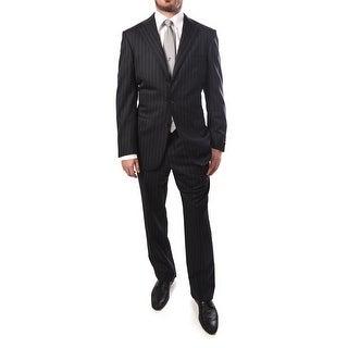 Ermenegildo Zegna Men Pinstripe Two-Piece Wool Suit Navy