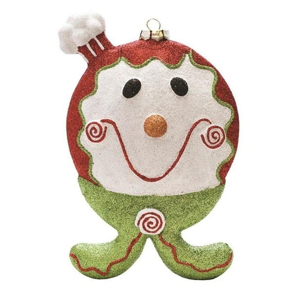 "9"" Merry & Bright Red, White and Green Glittered Shatterproof Gingerbread Boy Christmas Ornament - RED"
