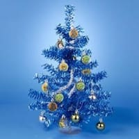 """15"""" Classic Star Wars Blue and Silver Tinsel Mini Christmas Tree Table Top Decoration"""