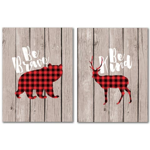 Be Brave Bear Brown Wood - 2 Piece Wrapped Canvas Wall Art Set