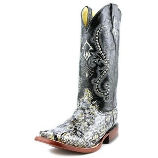 Ferrini Print Python Women Square Toe Leather Black Western Boot