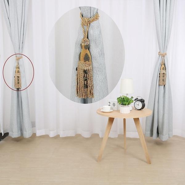 Brown Window Treatment Curtain Drapery Wood//Tassel Double Cord Tie Back Holdback