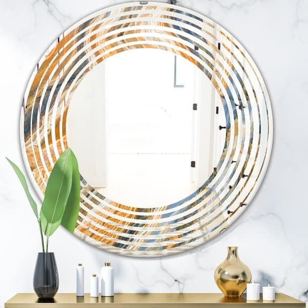 Designart Marbled Geode 4 Modern Round Or Oval Wall Mirror Wave On Sale Overstock 29908105