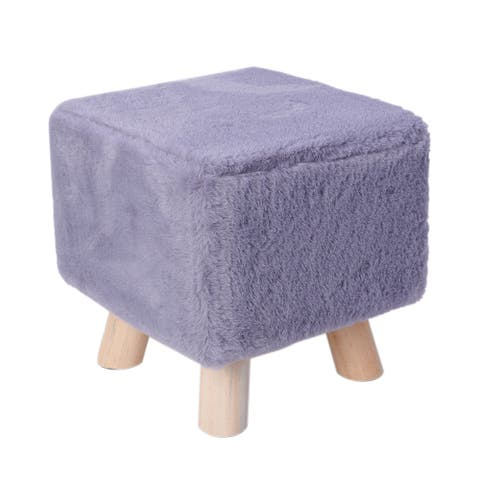 Vanity Soft Furry Ottoman Wooden Step Stool Padded Seat Foot Rest - 11x11 inches