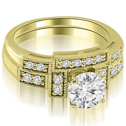 1.30 cttw. 14K Yellow Gold Antique Milgrain Round Diamond Bridal Set
