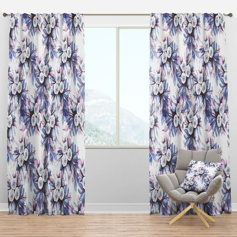 Designart 'Flowery Purple in White' Floral Blackout Curtain Panel
