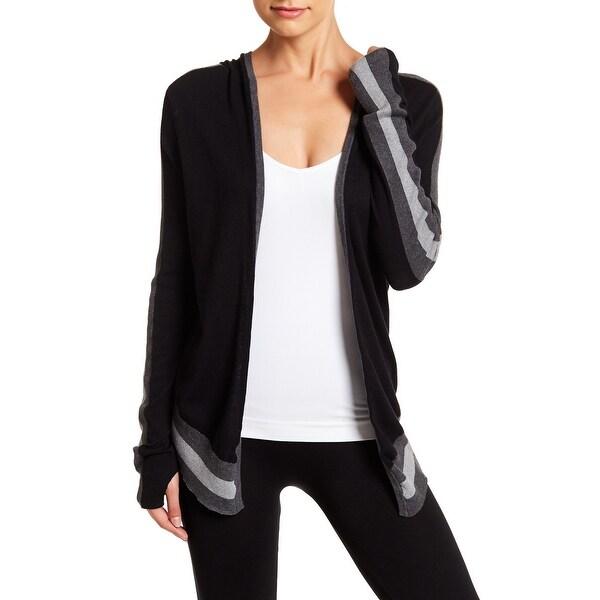 Blanc Noir NEW Black Womens Size Medium M Hooded Cardigan Sweater
