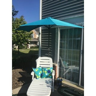 International Caravan St. Kitts 9 Foot Crank Tilt Wall Hugger Half Patio  Umbrella ...