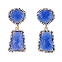 Genuine blue dyed sapphire  Sterling Silver Earring