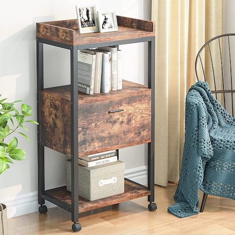 Mobile File Cabinet with Drawer, Modern Lateral Mobile File Storage Cabinets Printer Stand