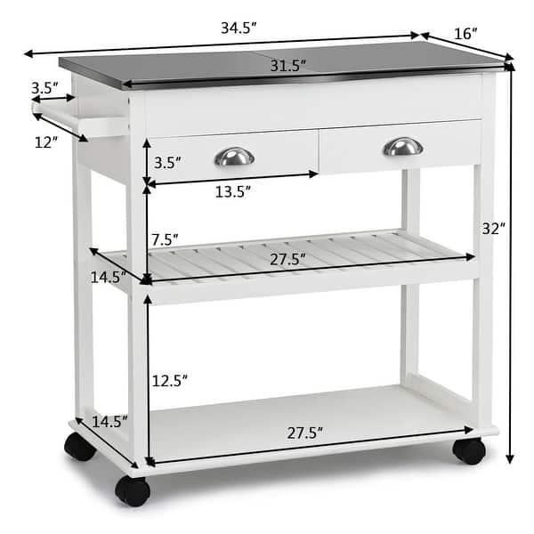 Rolling Kitchen Island Trolley Cart Stainless Steel Flip Tabletop Overstock 16745928