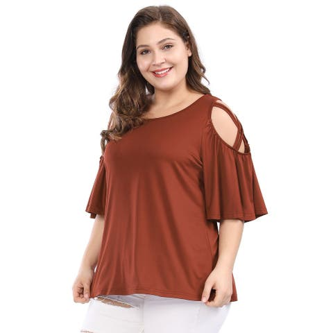 Women Plus Size Strappy Cold Shoulder Trumpet Sleeves Top
