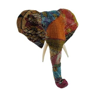 Recycled Indian Sari Fabric Wrapped Elephant Head Wall Mount