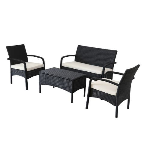 Black 4-Piece Sofa Seating Group with Cushions