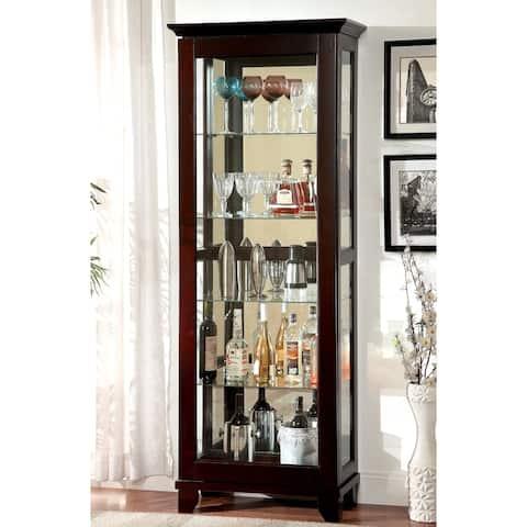 Furniture of America Trav Contemporary Walnut Solid Wood Curio Cabinet