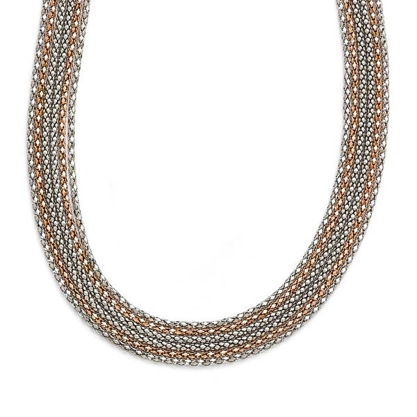 Chisel Stainless Steel Polished Rose IP-plated 6 Strand Necklace - 18.25 in