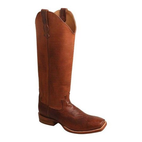 Twisted X Boots Women's WBKL005 Buckaroo Cowboy Boot Cognac/Cognac Basketweave Leather