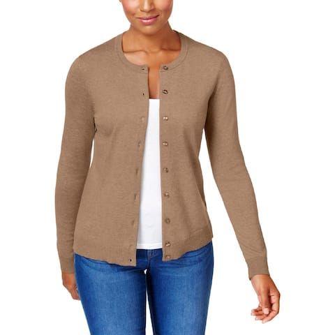 Karen Scott Womens Cardigan Sweater Ribbed Trim Button-Down