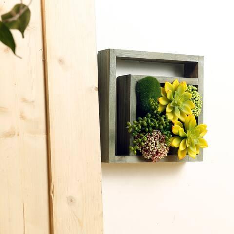 Alpine 10-Inch Indoor/Outdoor Wood Frame Plant Wall Art Décor