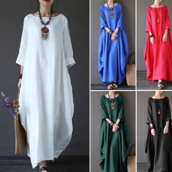 dd274ef6392 Summer Women  x27 s Casual Round Neck Long-sleeved Dress Long Skirt National