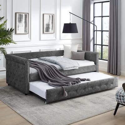 Nestfair Grey Twin Size Daybed with Trundle