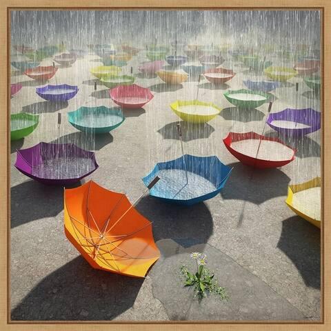 Downpour (Umbrella) by Cynthia Decker Framed Canvas Art
