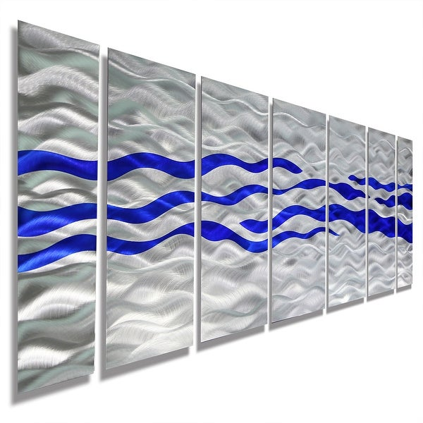 Statements2000 Blue / Silver Modern Abstract Metal Wall Art Painting by Jon Allen - Caliente Blue