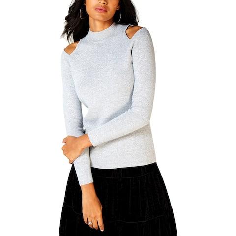 MICHAEL Michael Kors Womens Pullover Sweater Metallic Mock-Neck