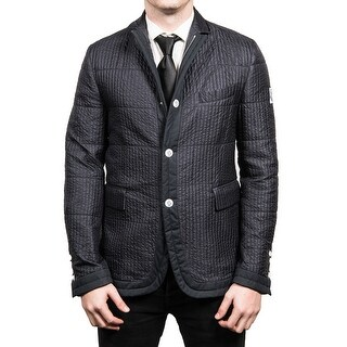 Moncler Men's Gamme Blue Padded Down Blazer Sportscoat Jacket Navy