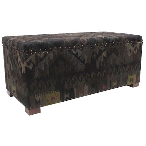 "Tribal Rod Black Blue Kilim Upholstered Storage Settee - 48""x23""x20"""