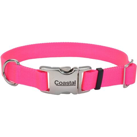 "Adjustable Nylon 1"" Dog Collar With Titan Metal Buckle-Neon Pink, Neck Size 14""-20"" - Pink"